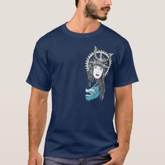 Camiseta Menina do samurai de Steampunk com dragão