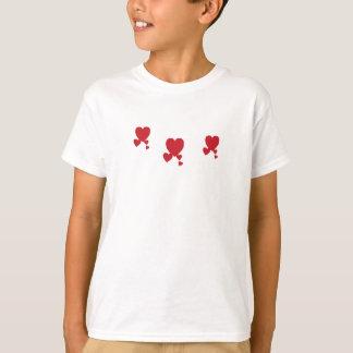 Camiseta Menina do t-shirt dos corações do dia de Valentin