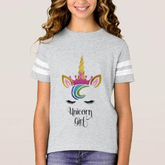 Camiseta Menina do unicórnio, caligrafia da cara da coroa