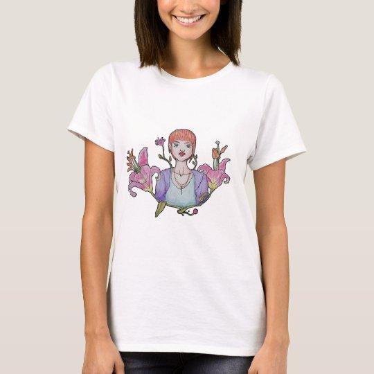 Camiseta Menina e flores