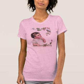 Camiseta Menina e pássaro azul