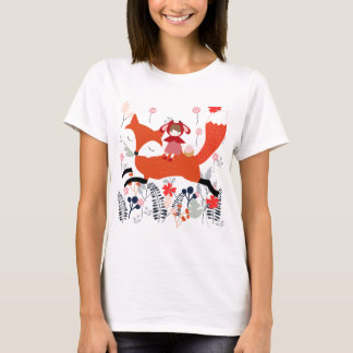 Camiseta Menina e raposa vermelhas da equitação da capa no