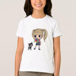 Camiseta Menina e seu gato - o t-shirt das meninas