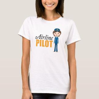Camiseta Menina fêmea dos desenhos animados do piloto da