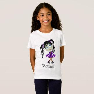 Camiseta Menina Ghoulish do Dia das Bruxas com rabos de