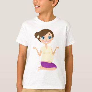 Camiseta Menina grávida feliz com amarelo da barriga
