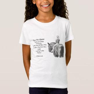 Camiseta Menina no cavalo, arte do lápis: Verso da bíblia: