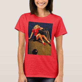 Camiseta Menina Pin-acima de rolamento de Buell do Al retro