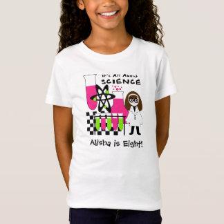 Camiseta Menina toda sobre o t-shirt personalizado ciência