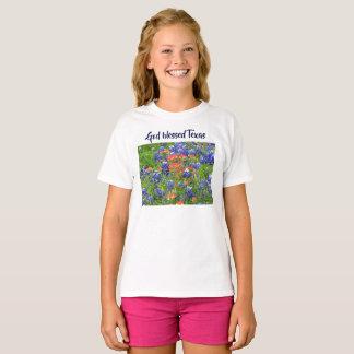Camiseta Meninas abençoadas deus do t-shirt do bluebonnet