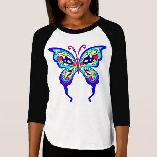 Camiseta Meninas Butterflyl 3/4 de t-shirt do Raglan da