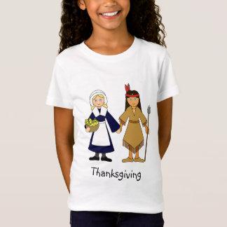 Camiseta Meninas do peregrino e do nativo americano da