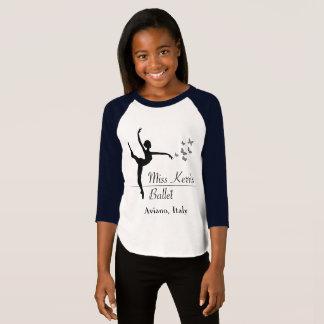 Camiseta Meninas do programa do balé de Aviano 3/4 de luva