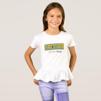 Camiseta Meninas eu amo o t-shirt dos cães