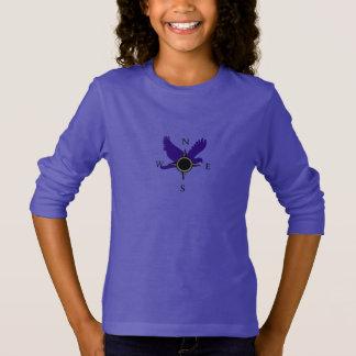 Camiseta Meninas falcão e t-shirt do compasso no roxo