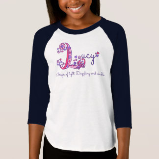 Camiseta Meninas L T conhecido de Lucy do monograma do