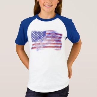 Camiseta Meninas patrióticas da bandeira americana dos EUA