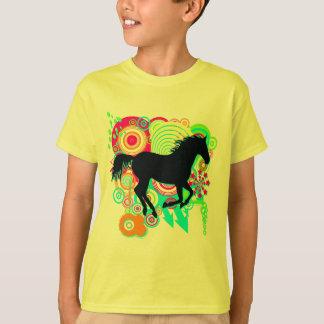 Camiseta Meninas que galopam a silhueta do cavalo