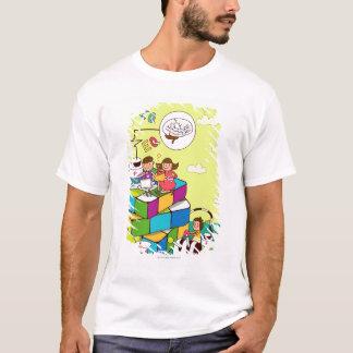 Camiseta Menino com uma menina que senta-se no