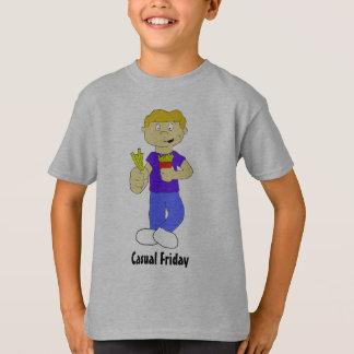 Camiseta Menino dos desenhos animados com batatas fritas