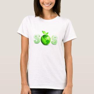Camiseta Mensagem do Dia da Terra da terra verde SOS