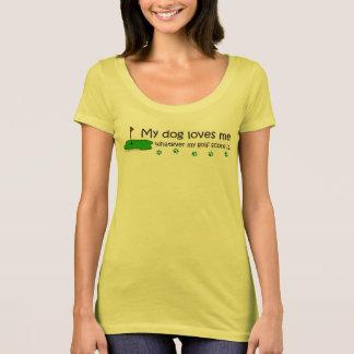 Camiseta meu cão ama-me o que quer que minha contagem do