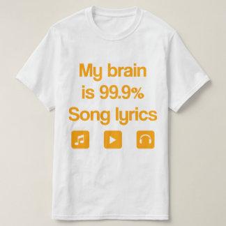 Camiseta Meu cérebro é 99,9% poemas líricos da canção