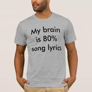 Camiseta Meu cérebro é poemas líricos da canção de 80%