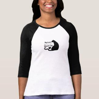 Camiseta Meu coração pertence a um gato preto