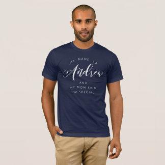 Camiseta Meu nome é Andrew e minha mamã disse que eu sou