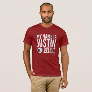 Camiseta Meu nome é Justin obtem sobre ele