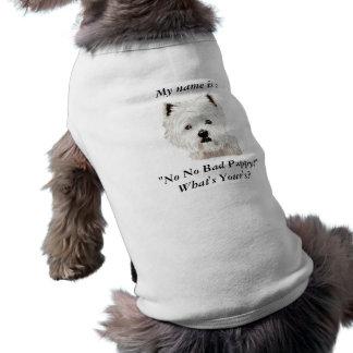 """Camiseta Meu nome é: , """"não nenhum filhote de cachorro mau"""