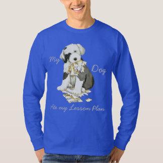 Camiseta Meu Sheepdog inglês velho comeu meu plano de aula