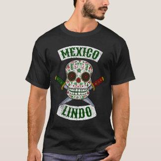 Camiseta México Lindo. Crânio mexicano com os punhais