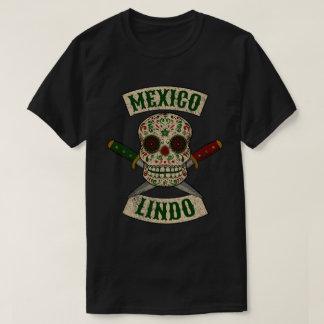 Camiseta México Lindo. Crânio mexicano com punhais