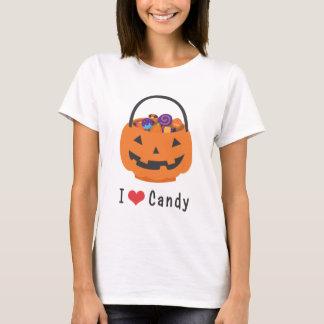 Camiseta Mim abóbora do Dia das Bruxas dos doces do coração