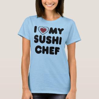Camiseta Mim coração meu cozinheiro chefe de sushi
