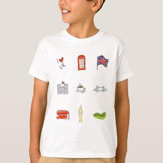 Camiseta Mim coração Reino Unido, amor britânico, marcos de