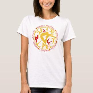 Camiseta Mim ginástica do coração - ouro e vermelho