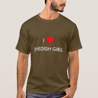 Camiseta mim meninas do sueco do coração