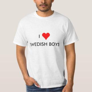 Camiseta mim meninos do sueco do coração