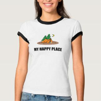 Camiseta Minha barraca de acampamento feliz do lugar