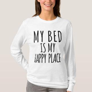 Camiseta Minha cama é meu t-shirt longo da luva do lugar
