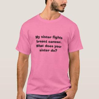 Camiseta Minha irmã luta o cancro da mama.  O que faz o