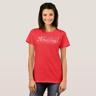 Camiseta Minha vida é surpreendente! T vermelho