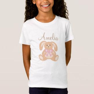 Camiseta Miúdos adoráveis doces femininos bonitos do coelho