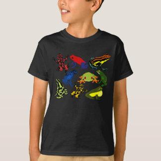 Camiseta Miúdos coloridos, sapos do dardo do veneno do