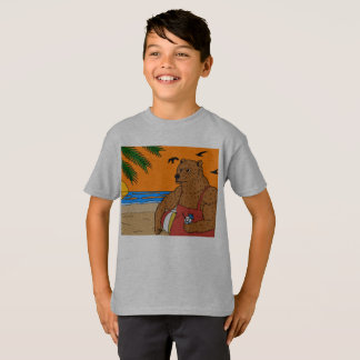 Camiseta Miúdos do t-shirt do urso da praia