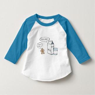 Camiseta Miúdos engraçados T branco do leite & do gengibre