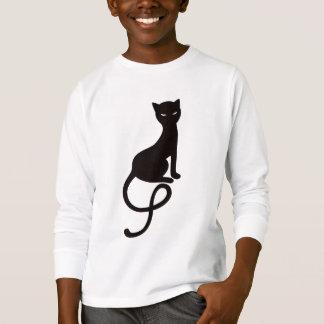 Camiseta Miúdos longos maus graciosos da luva do gato preto